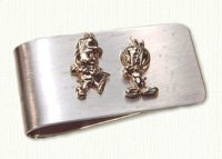 Sterling silver money clip with raised 14KY Cartoon Characters