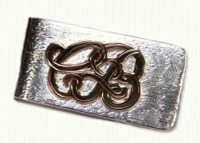 Sterling money clip with raised 14KY initials CJB