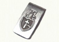Sterling money clip with raised  family crest