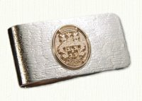 Sterling money clip with raised 14KY family crest
