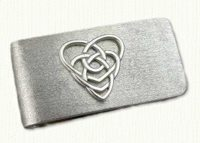 Sterling Silver Celtic Double Heart Money Clip