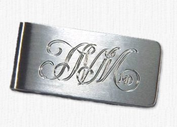 deae513a5915 Sterling silver monogram money clip with satin finish