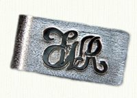 Sterling money clip with raised 14KY initials FWR