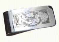 Sterling silver money clip with reverse block style hand engraving