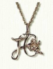 Single initial pendant H with angel