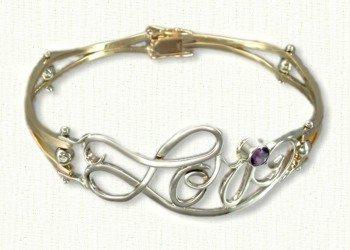 Monogram cuff bracelet in 14KY