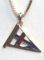 Red, white and blue enameled sterling silver burgee pendant