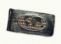 Sterling money clip with photo etched, raised globe