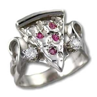 Ladies Pizza Ring in Sterling Silver with Rubies