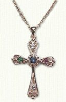 Custom 14ky Family cross with birthstones - #R80070