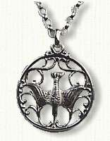 Dove in circle pendant - #3372