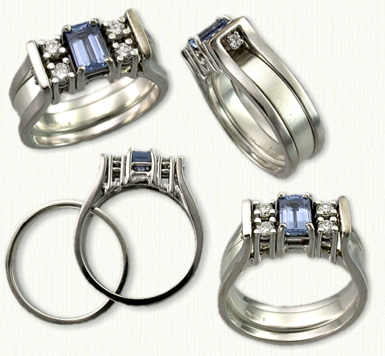 14KW Kathryn reverse cradle with 0.85 ct emerald cut blue sapphire and side diamonds. 14KW 3.5mm wide inside spacer band.