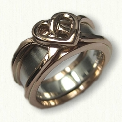 14kt Rose Gold Celtic Heart Reverse Cradle