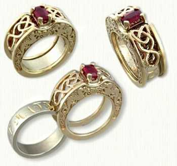 C - Celt Dara Reverse Cradle with emerald cut ruby