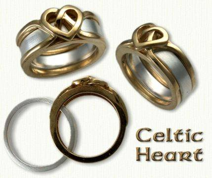14KY celtic heart reverse cradle with 14KW inside band