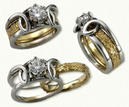 14KW Julie Anne Reverse Cradle set with a 0.50ct RBC diamond. 14kt yellow gold 3mm custom Initial and Vine inside band.