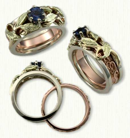 Leaf & Vines 01: 14Kt tri-color Reverse cradle set with 0.81ct round blue sapphire. Rose gold inner band