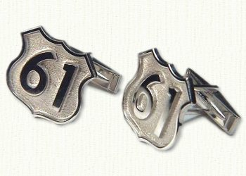 Custom Route 61 Cuff Links in sterling