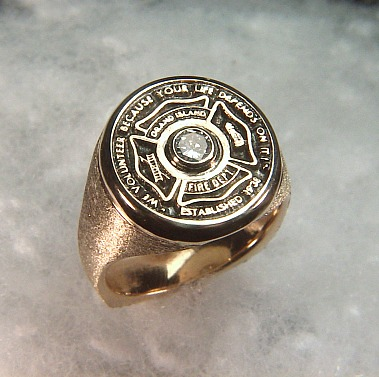 grand island fire department signet ring - Firefighter Wedding Rings