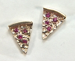 14KY small pizza slice earrings with Rubies