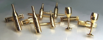 wine bottle and wine glass cuff links and studs