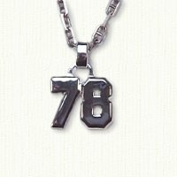 Sterling silver number 78 jersey number