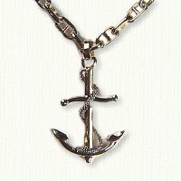 Large 14kt fouled anchor pendant