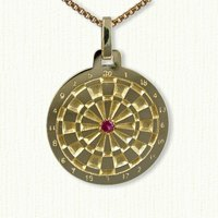 14KY large dart board pendant with .10ct ruby