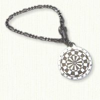 Antiqued sterling silver dart board key chain