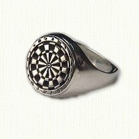 Antiqued sterling silver dart board signet ring