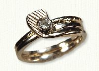 14KT two tone golf club ring with .45ct diamond