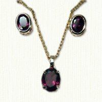 14kt yellow gold oval rhodolite garnet pendant and earring set