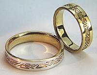 geometric initial wedding bands