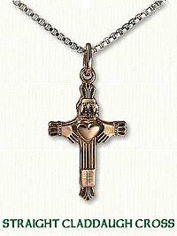 Straight Claddagh Cross with Raised Heart