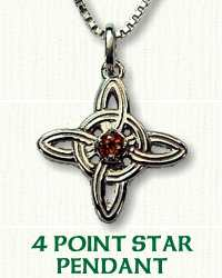 4 Point Star Pendant with 3.5mm Citrine