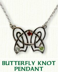 Custom Celtic Butterfly Pendant with stones