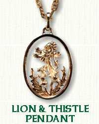 14KW Pierced Lion & Thistle Pendant
