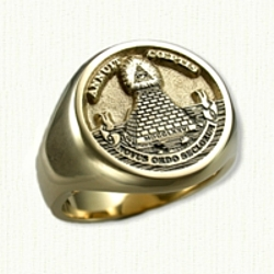 Custom 14kt gold Masonic Signet ring - The Great Seal