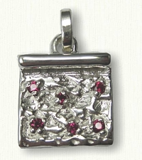 Sterling Square Slice with Rubies