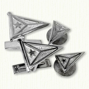 Plain sterling silver burgee cufflinks and studs