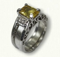 14kt White Gold Filligree Reverse Cradle set with customers yellow sapphire and side diamonds