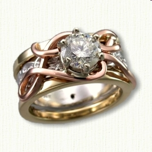 Custom reverse cradle with 14kt rose gold initials and 14k yellow rails set with a round diamond. Custom 14kt white gold wedding band used for inside cradle