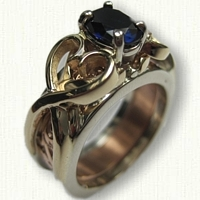 Twin Hearts 09: T14kt Two Tone Gold Twin Hearts Reverse Cradle set with a 7 x 5 Lab Sapphire