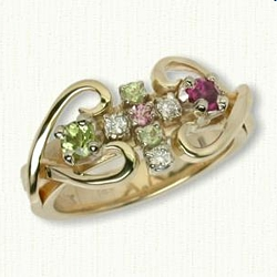 Twin Hearts 07: Custom Twin Hearts &  Cross Family Ring  3mm Stone- Peridot, Pink Tourmaline, Peridot, (2) 2mm Pink Tourmaline, (3) 2mm .03ct Diamonds