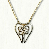 linked heart knot pendant