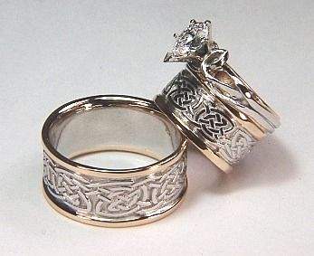 Durrow Knot Wedding Set With Julie Anne Engagement Ring 14kt White Gold Center Yellow Rails