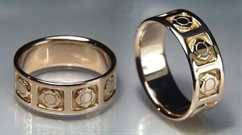 Fire Fighters Emblem Wedding Rings In 14ky