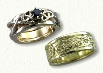 Custom Sterling Silver Dragon With Initials Wedding Band Set Gents 14kt Green Gold Winged And Triangle Knot Reverse Cradle